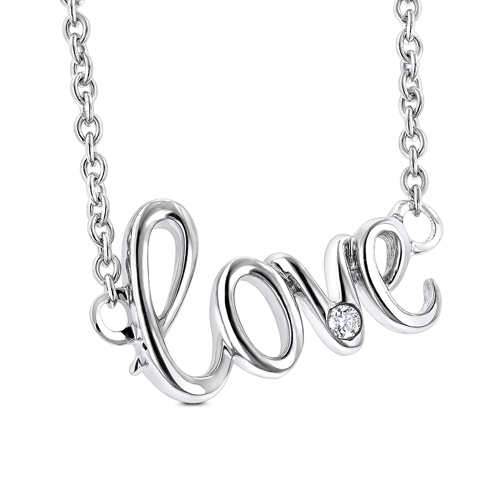 Genuine Diamond Love Necklace Sterling Silver Luxurman Love Quotes for Her