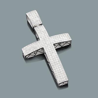 Gold Diamond Cross Pendant in 10K Gold 1.13ct