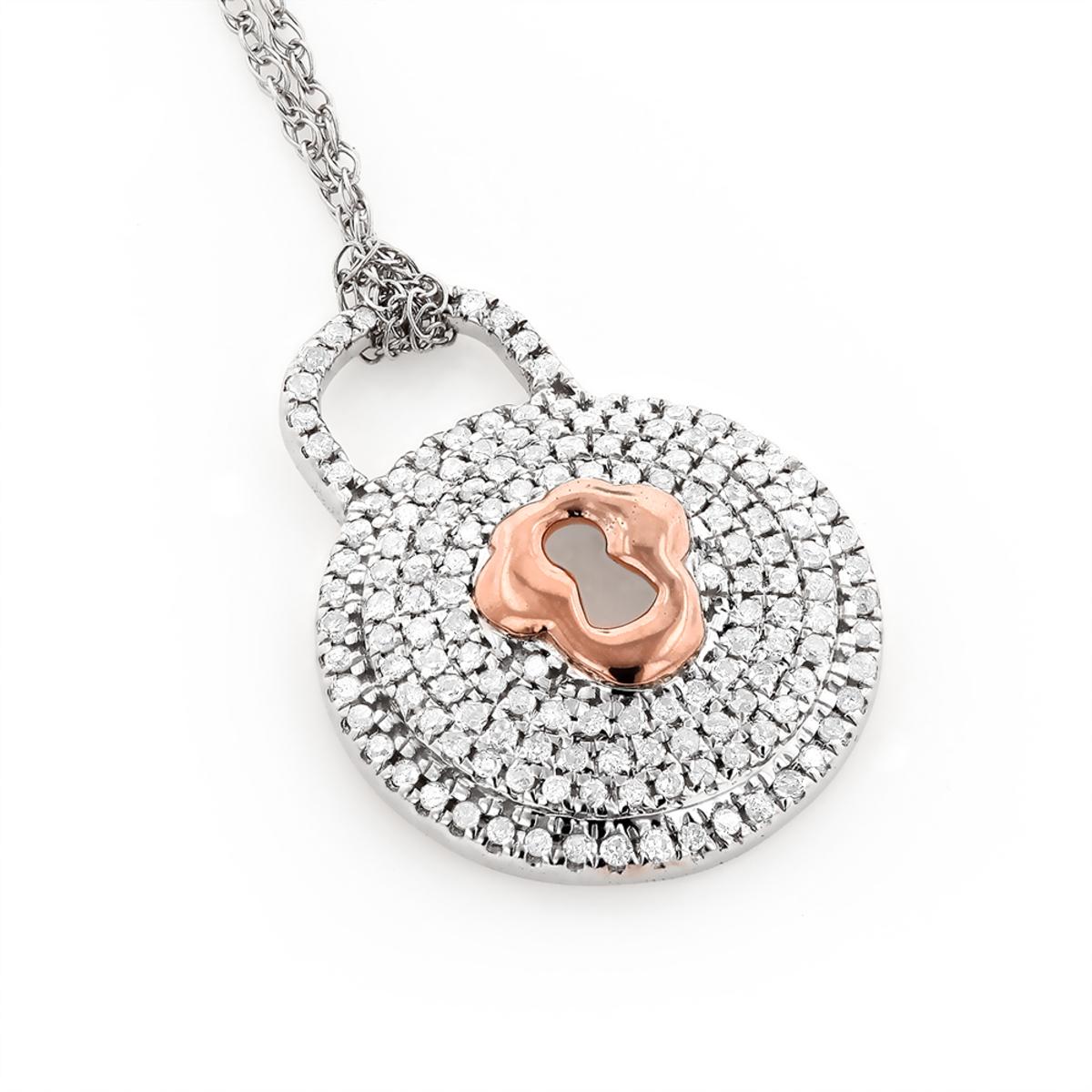 Gold Diamond Lock Pendant Necklace For Women 0.30ct 10K