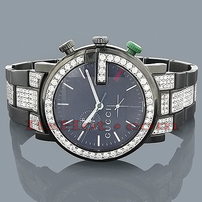 Gucci Watches Chrono Mens Diamond Watch 7.50ct Black