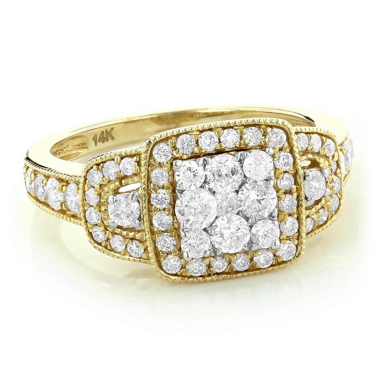 Halo Princess Cut Diamond Engagement Ring Look 1.2ct Ladies Cluster Ring