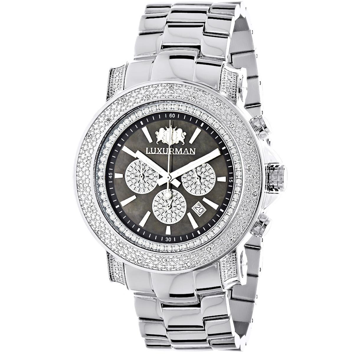 Heavy Mens Diamond Watch Luxurman Escalade 0.75ct Black MOP