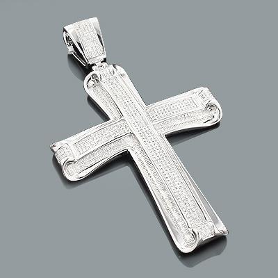 Hip Hop Jewelry: Mens Diamond Cross Pendant 1.46ct Silver