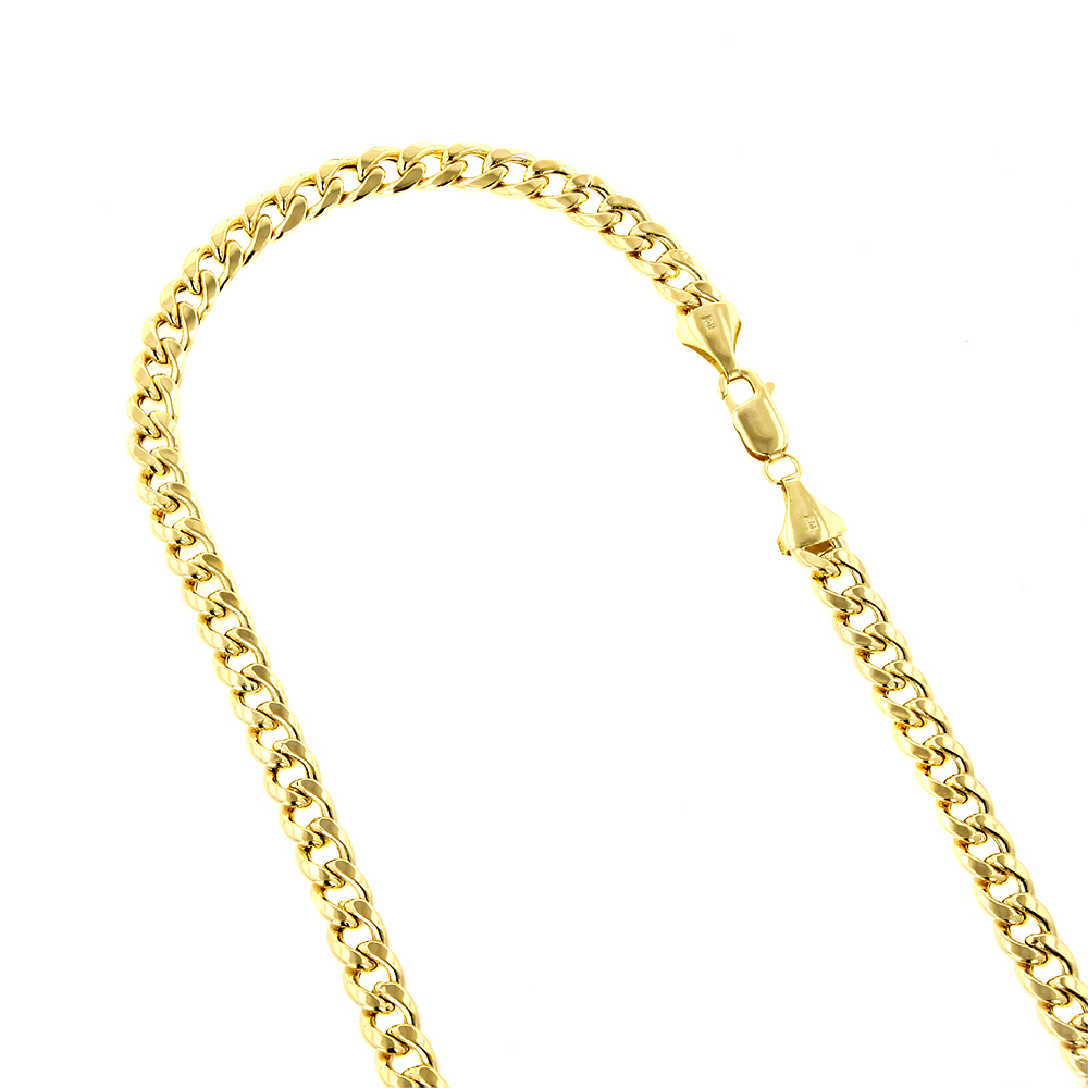 Hollow 10k Gold Cuban Link Chain For Men Miami 6.5mm Wide