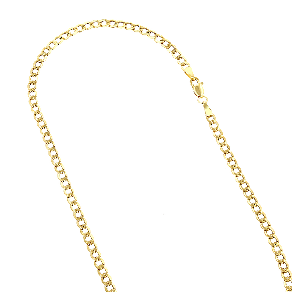Hollow 10k Gold Curb Chain For Men & Women 4.5mm Wide