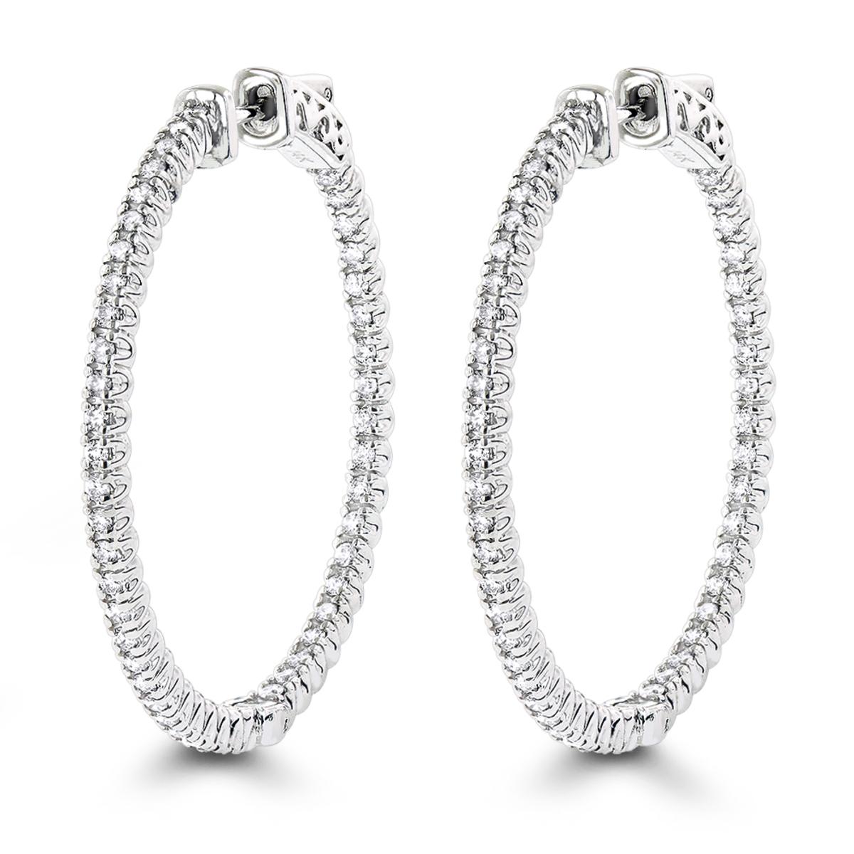 1.5in 14K Gold Diamond Hoop Earrings Inside Out 1ct by Luxurman