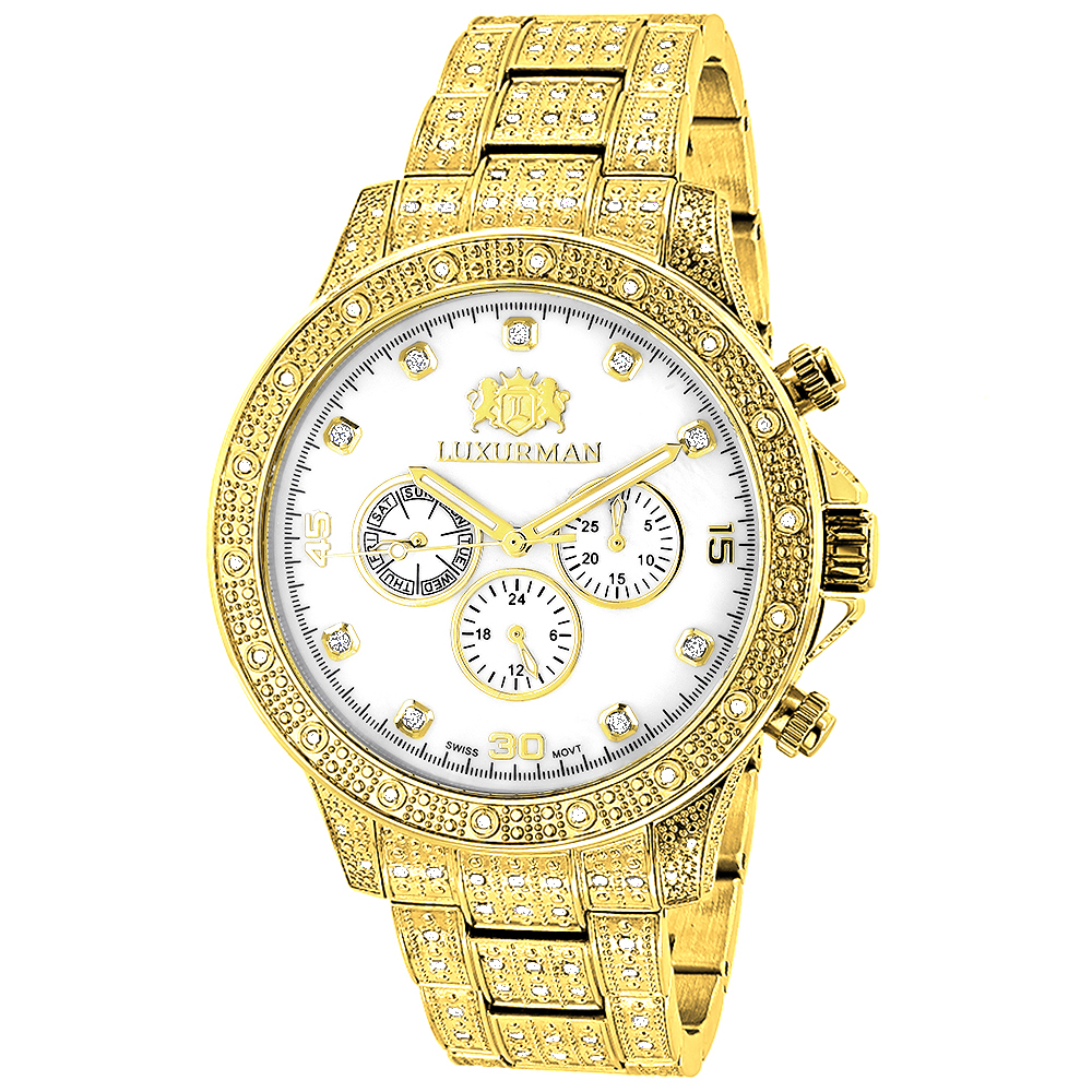 Iced Out Mens Luxurman Watch with Diamond Band 1.25ct Yellow Gold
