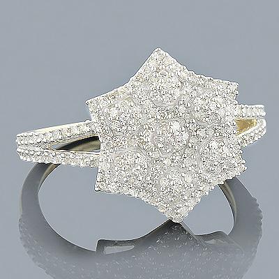 Ladies 14K Gold Diamond Star Ring 0.44ct