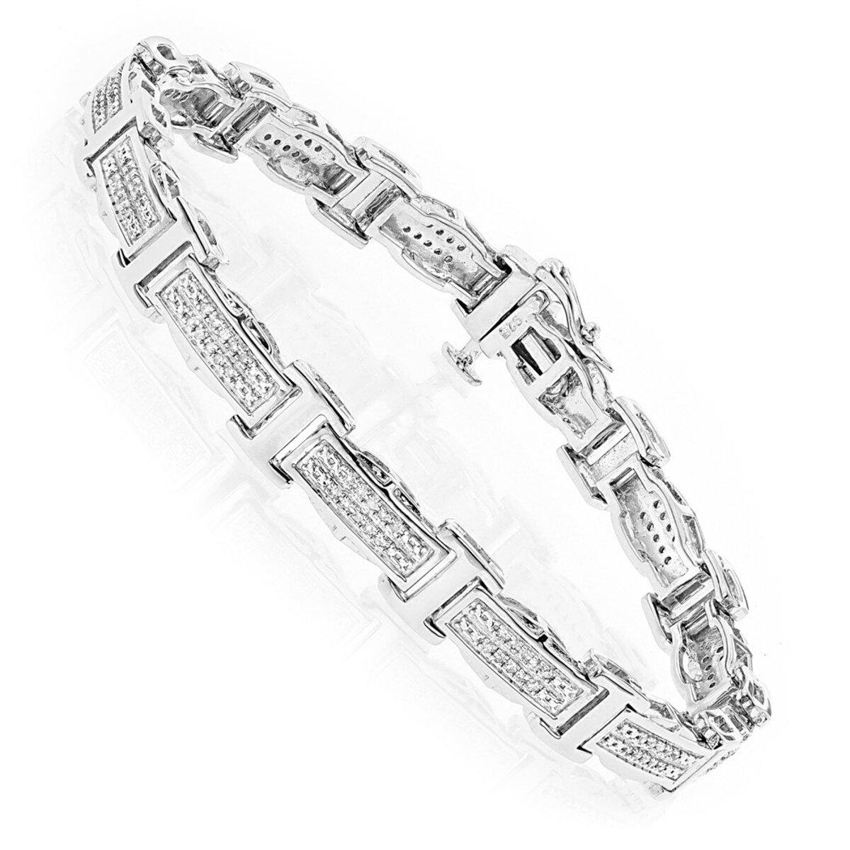 Ladies Diamond Bracelet in Sterling Silver 0.22ct