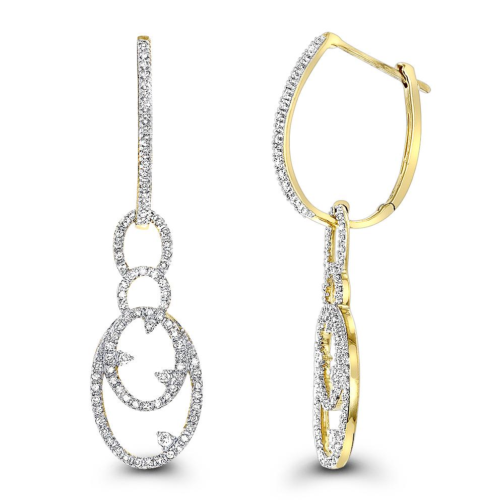 Ladies Diamond Drop Earrings 14K 0.5 ct