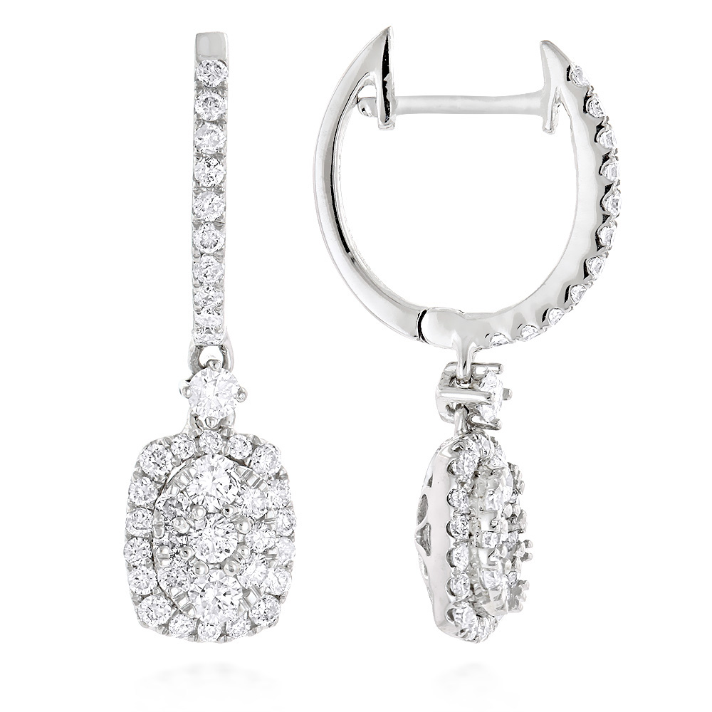 Ladies Diamond Drop Earrings Oval Design in 14K Gold 1.1ct by Luxurman