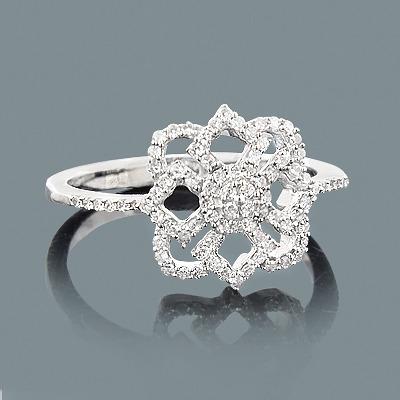 Ladies Diamond Flower Ring 0.28ct 14K Gold