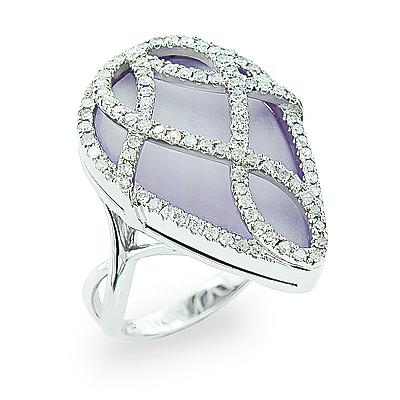 Ladies Large Amethyst Ring With Diamonds 0.6ct 14K