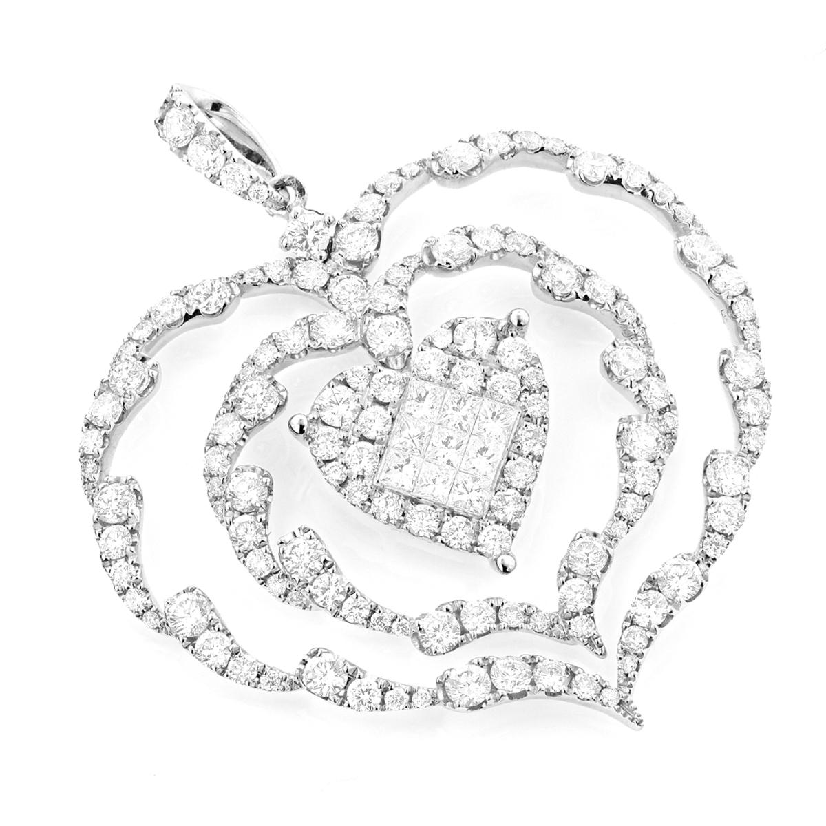 Ladies Unique Diamond Heart Pendant 3ct 14K Gold
