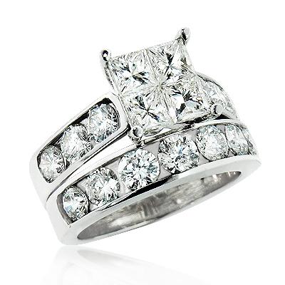 Round and Princess Cut Large Diamond Engagement Ring Set 4ct 14K Gold