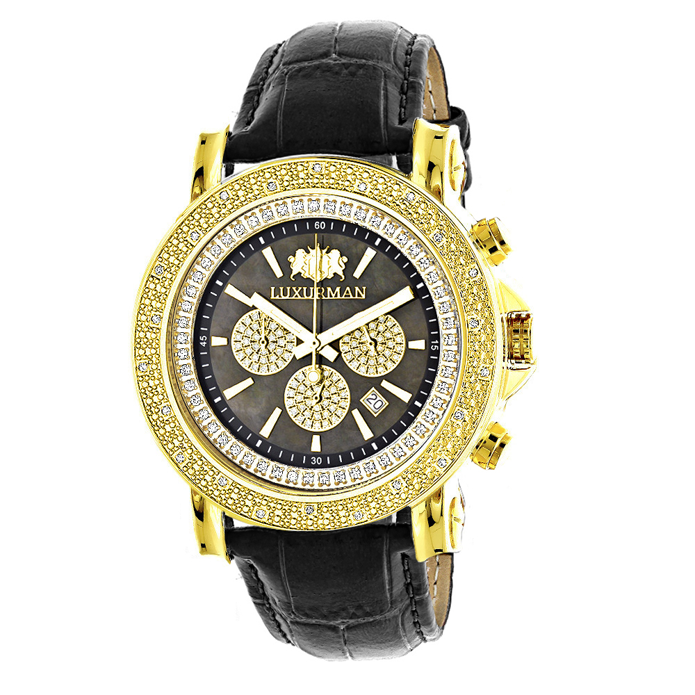 Large Luxurman Mens Watch with Diamonds 0.25ct Yellow Gold Plated Black MOP
