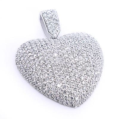 Large Pave Diamond Heart Pendant 10ct 14K Gold