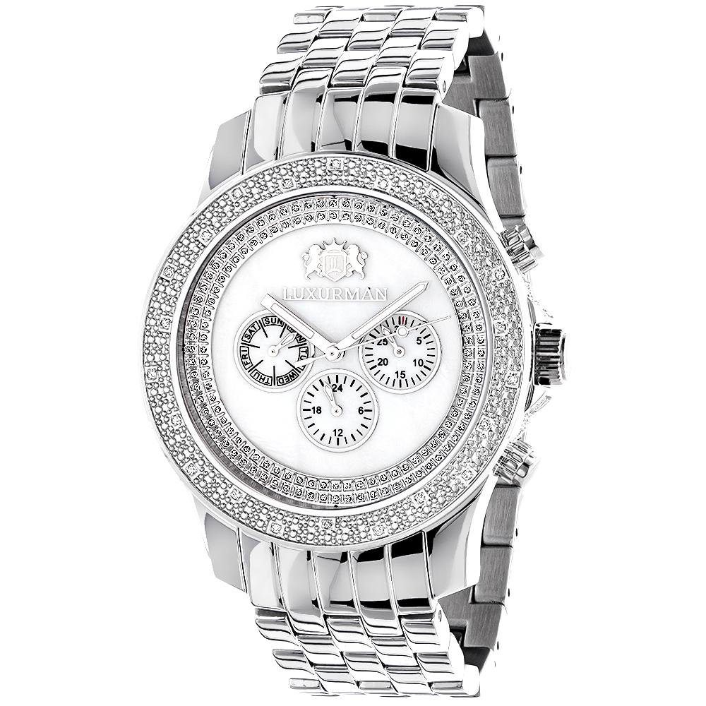 Luxurman Diamond Watches Mens Designer Watch 0.25ct