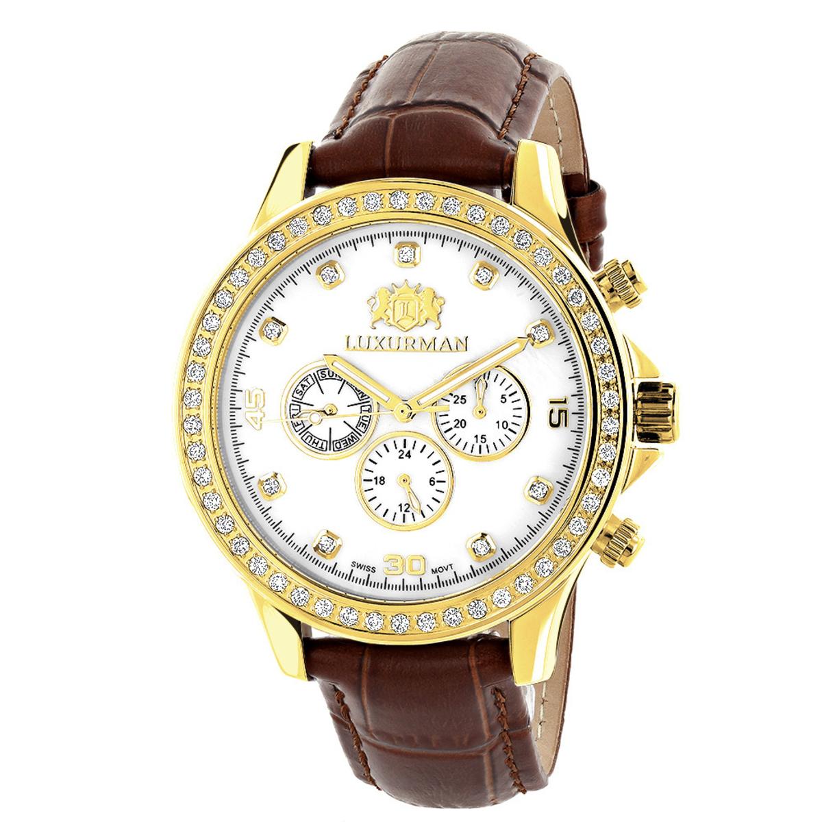 Luxurman Liberty Mens Diamond Watch Yellow Gold Plated 2ct Swiss Mvt