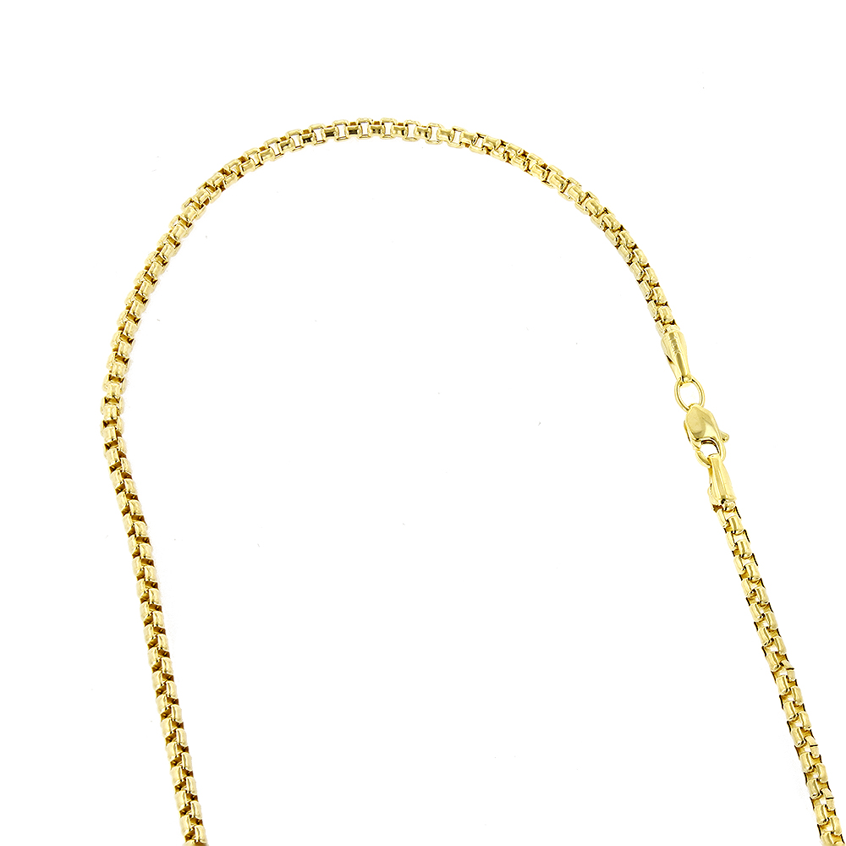 LUXURMAN Solid 14k Gold Box Chain For Men & Women Round 2.8mm Wide