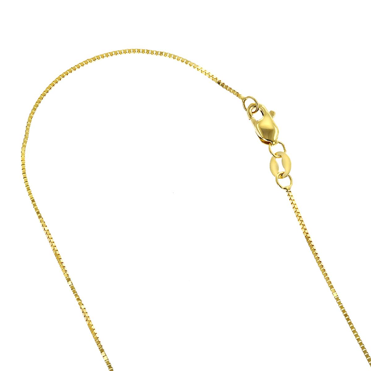 LUXURMAN Solid 14k Gold Box Chain For Women 0.8mm Wide