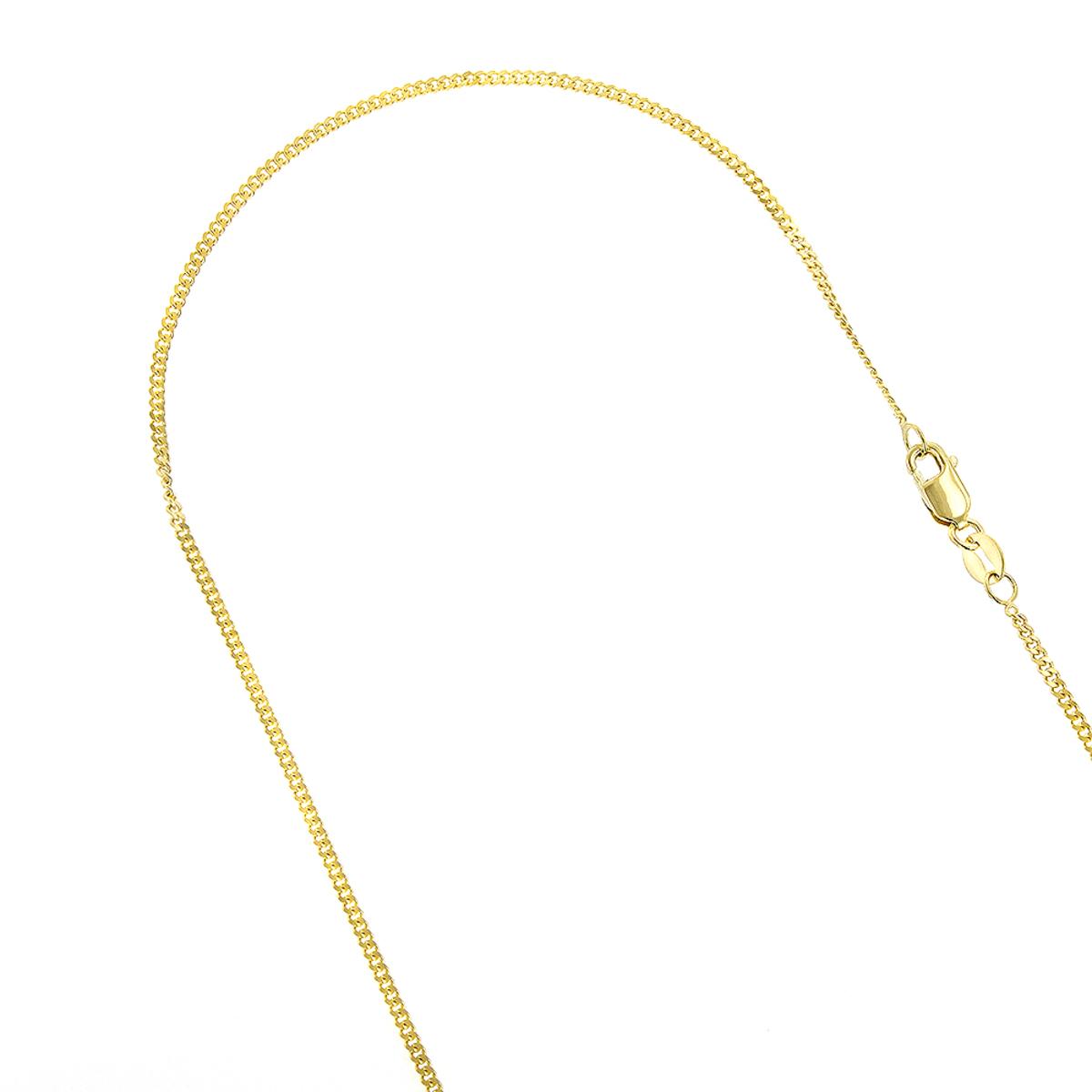 LUXURMAN Solid 14k Gold Curb Chain For Men & Women Gourmette 1.5mm