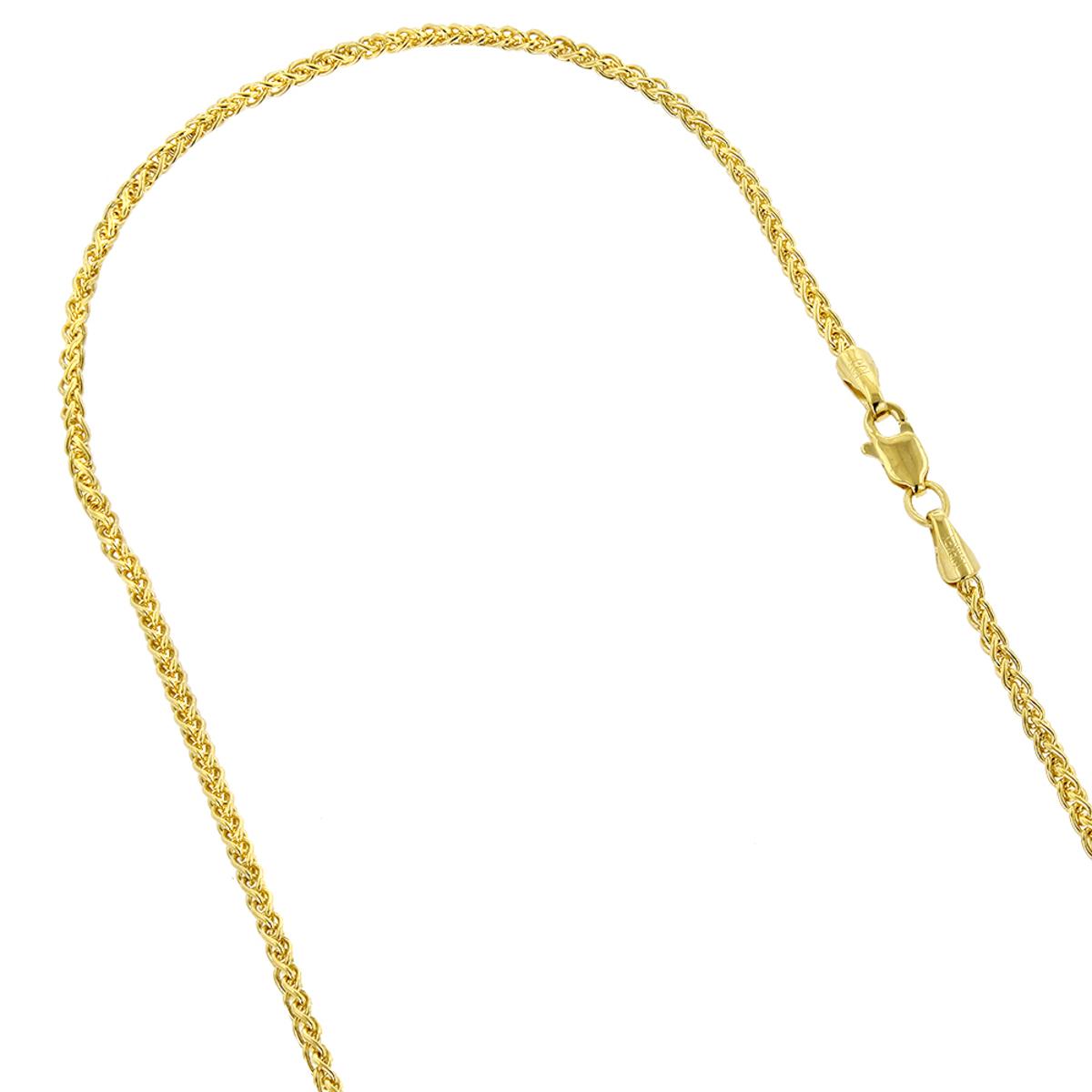LUXURMAN Solid 14k Gold Wheat Chain For Men & Women 2.1mm Wide