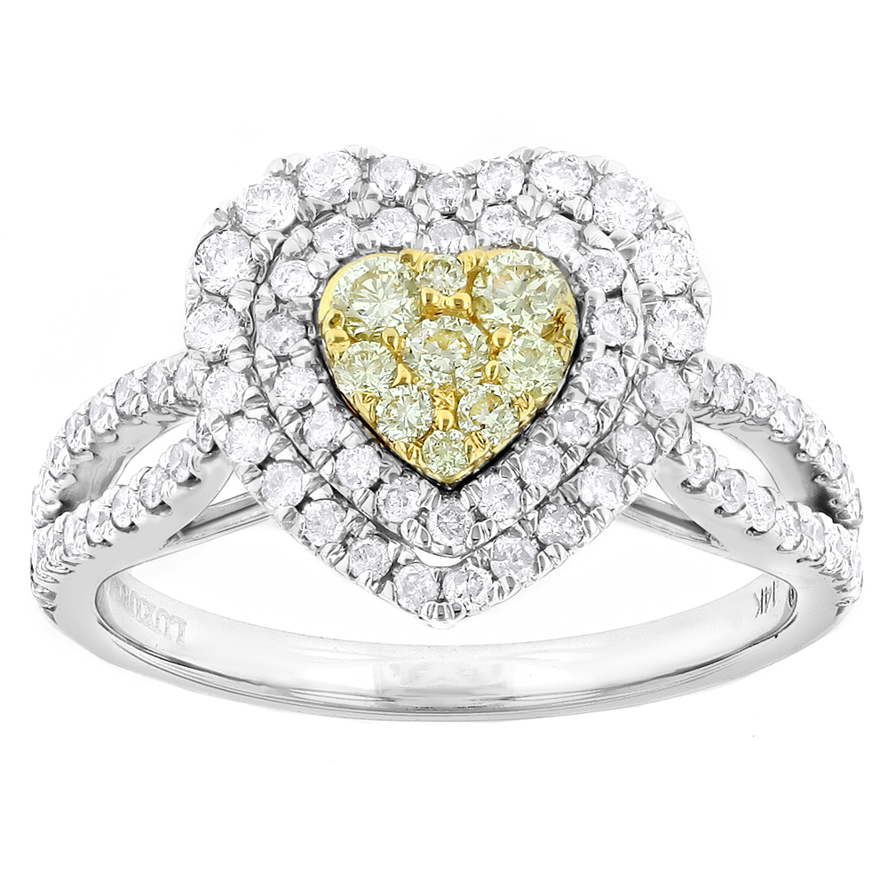 Luxurman Unique 14K Gold White Yellow Diamonds Heart Shape Ring 1ct
