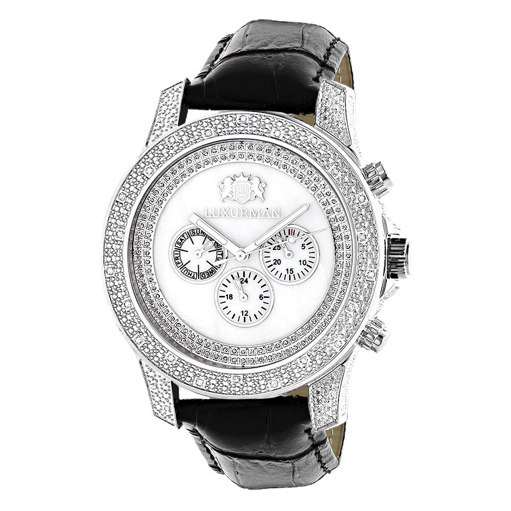 Luxurman Watches Mens Diamond Watch .50ct White Freeze