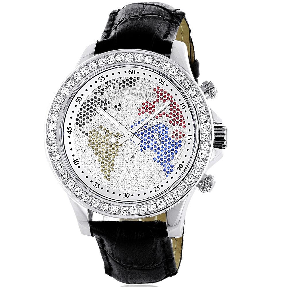 Luxurman Watches: Mens Word Map Diamond Watch 3ct