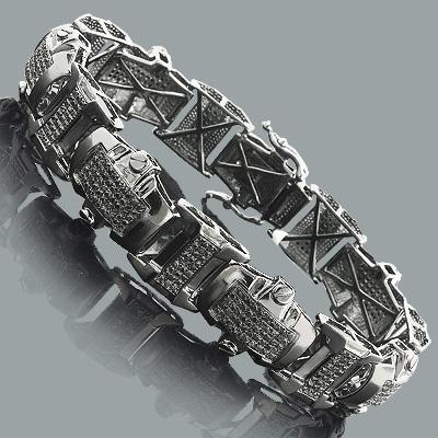 Mens Black Diamond Bracelet 3ct Sterling Silver