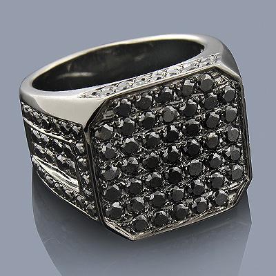 Mens Black Diamond Ring 14K Gold 4.98ct