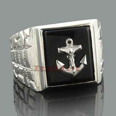 Mens Black Onyx Rings 14K Gold Mens Nautical Anchor Ring