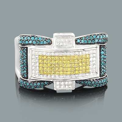 Mens Color Diamond Ring 0.62ct Sterling SIlver
