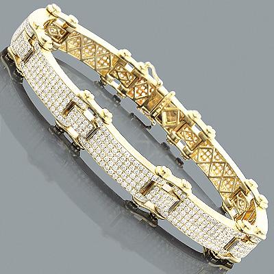 Mens Diamond Link Bracelet 10.22ct 14K