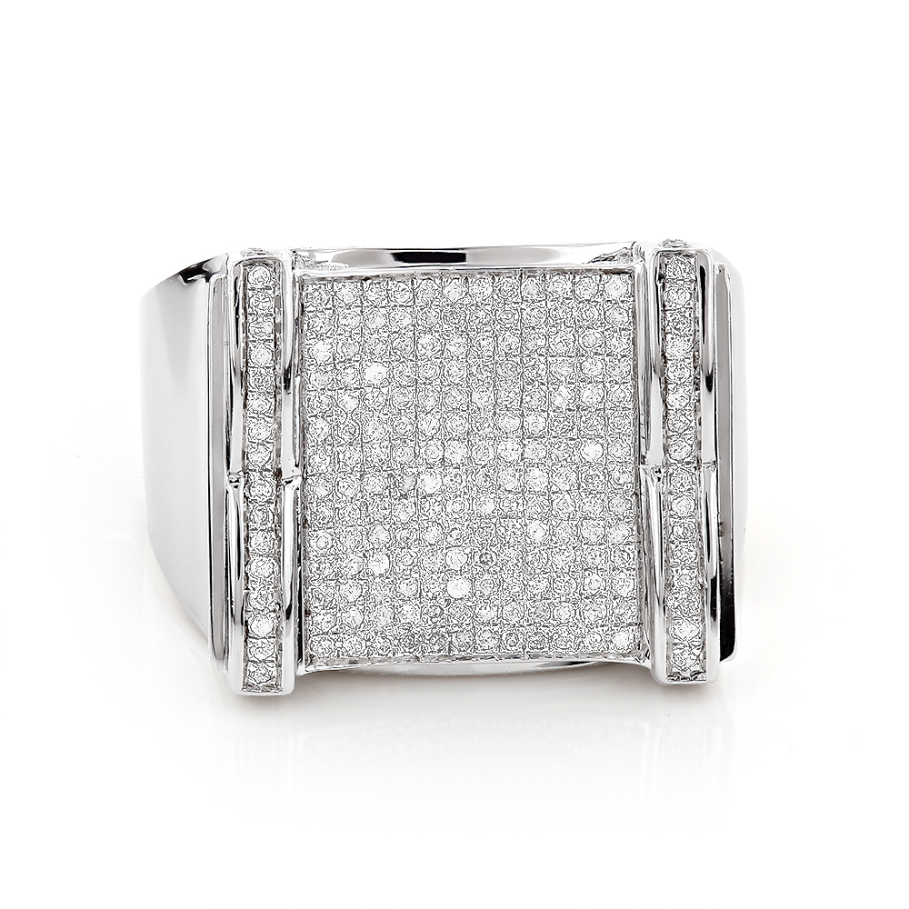Mens Diamond Ring Sterling Silver 0.98ct