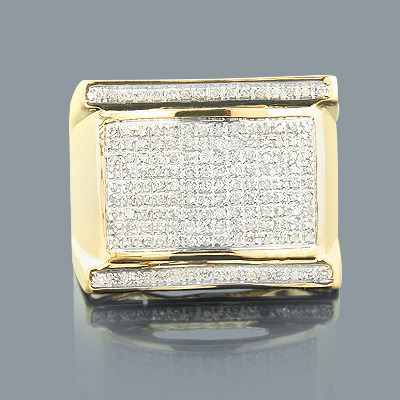Mens Diamond Rings: 10K Gold Pave Ring 0.57ct