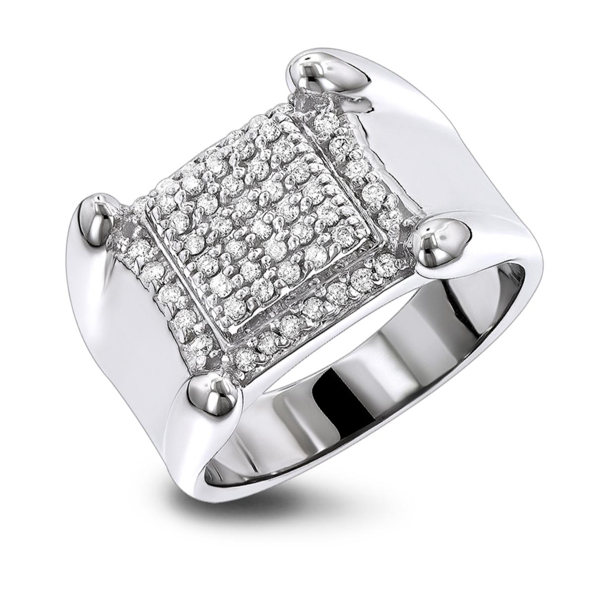 Mens Diamond Rings 10K Gold Round Diamond Ring 0.8ct