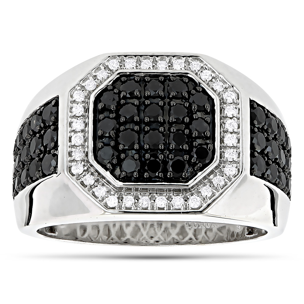 Mens Pinky Rings! 14K White and Black Diamond Ring for Men Pinky Ring 1.8ct