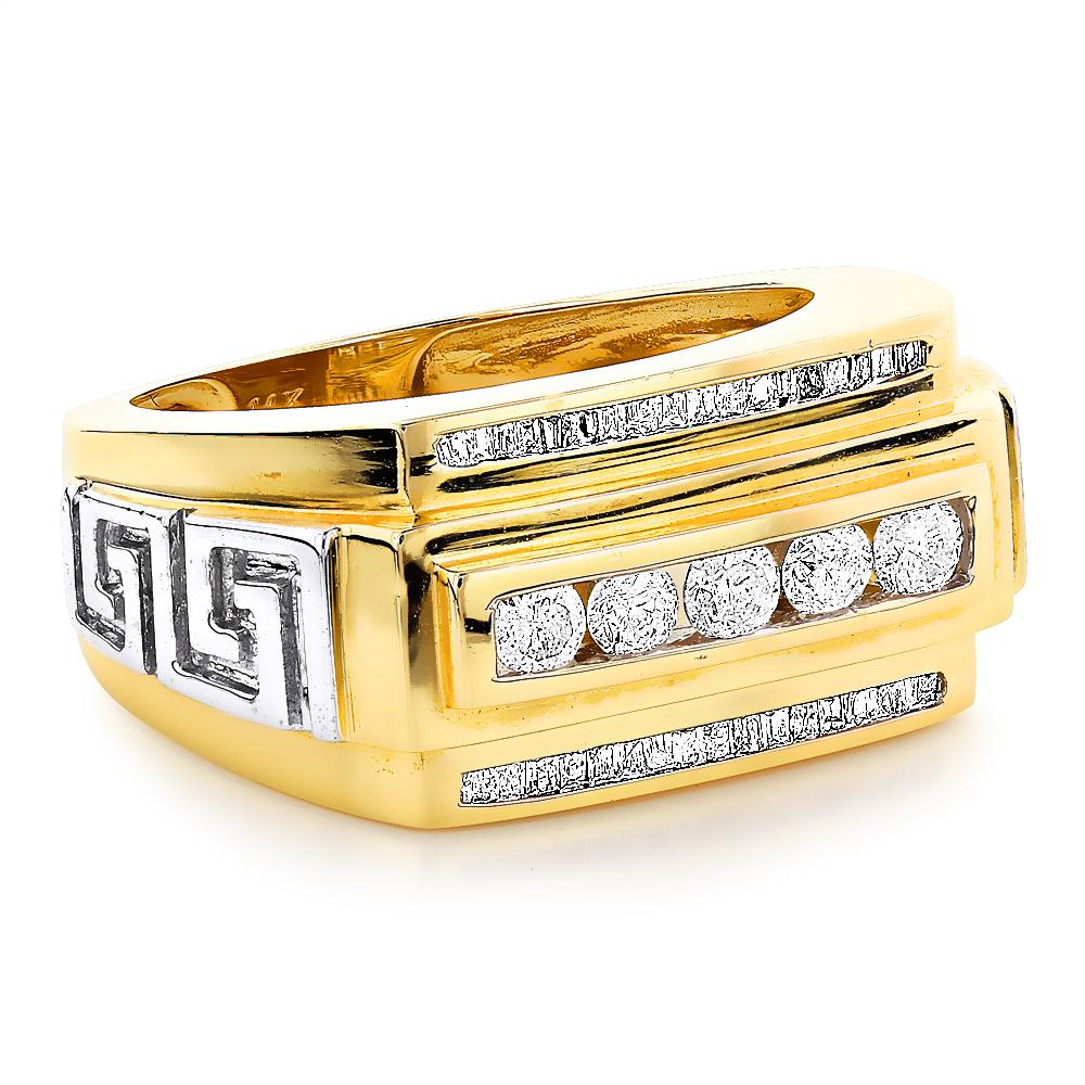 Mens Rings 14K Gold Mens Baguette Diamond Ring 0.97