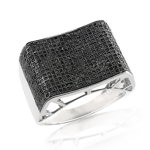Mens Sterling Silver Ring with Black Diamonds 1.14ct