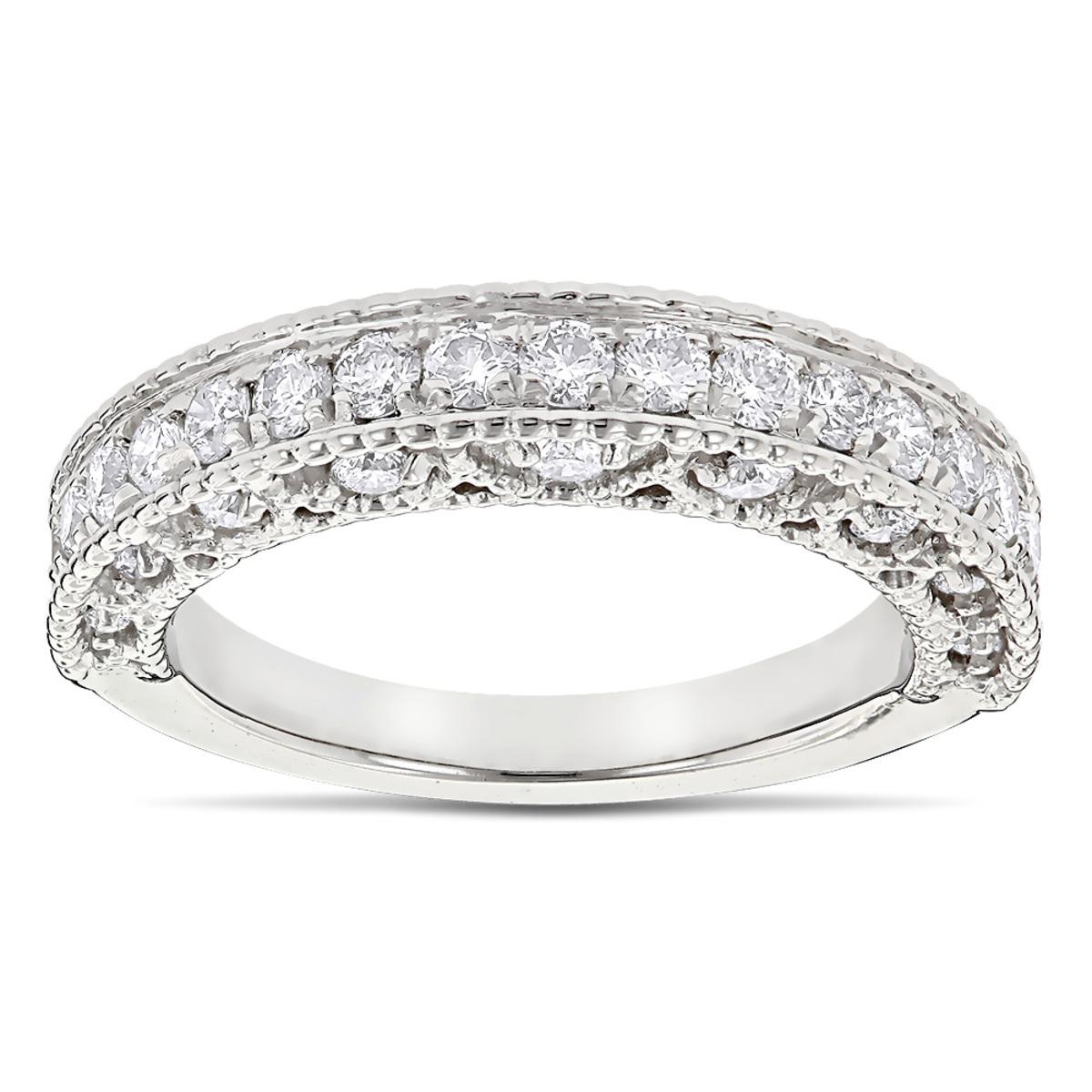 Milgrain & Filigree Designer Diamond Wedding Band for Her 1 Carat 14K Gold