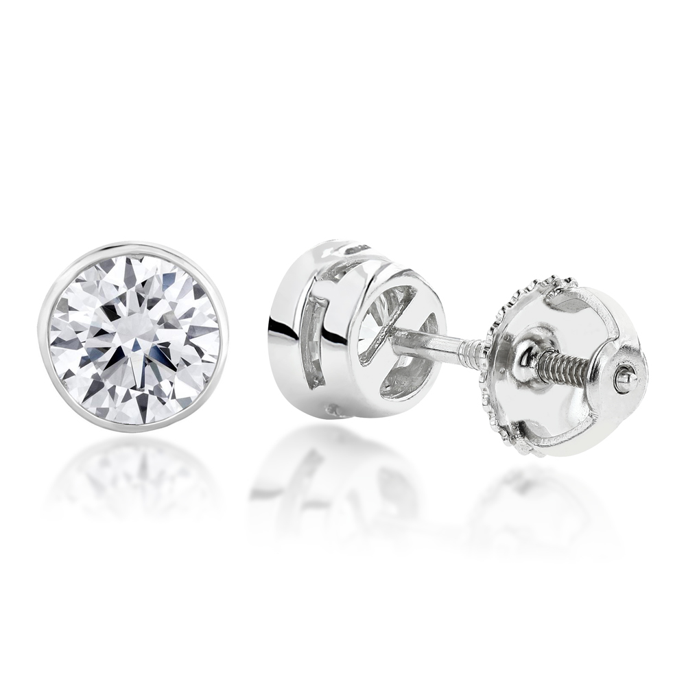 One Carat 18K Gold Solitaire Round Diamond Bezel Stud Earrings