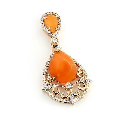 Orange Aventurine Diamond Pendant 5.5ct 14K Gold