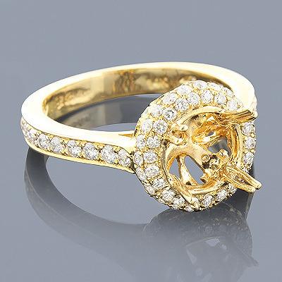 Halo Pave Diamond Engagement Ring Setting 0.88ct