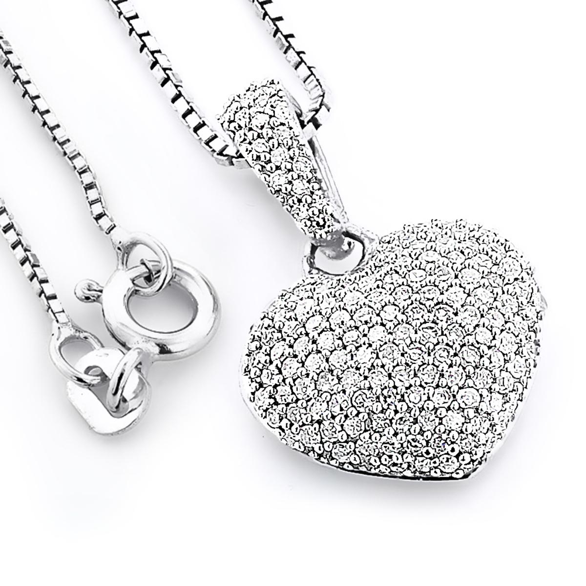 Pave Diamond Heart Pendant 0.48ct Sterling Silver