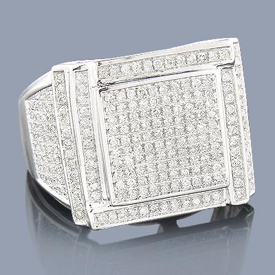 Pave Diamond Mens Ring 10K 1.11ct