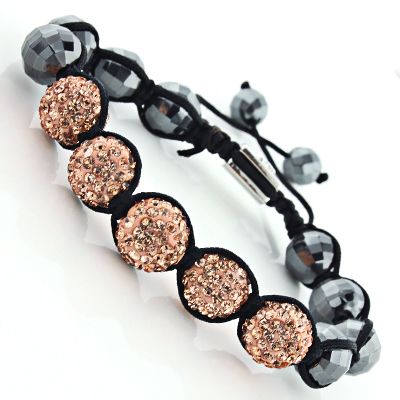 Peach Color Rhinestone Bracelet with Hematite Beads - Disco Ball Hematite Jewelry