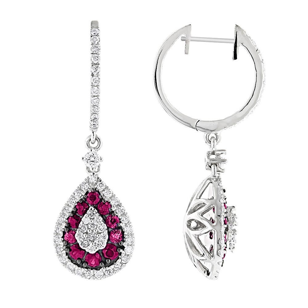 Pear Shape Diamond and Ruby Earrings for Women Drop Design 14K Gold 2tcw
