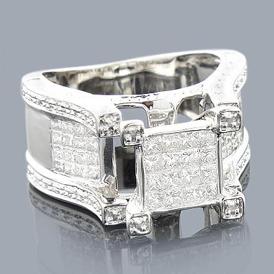 Princess Cut Diamond Rings: 14K Engagement Ring 1.27ct